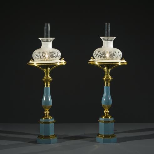 Pair Blue Tole Sinumbra Lamps