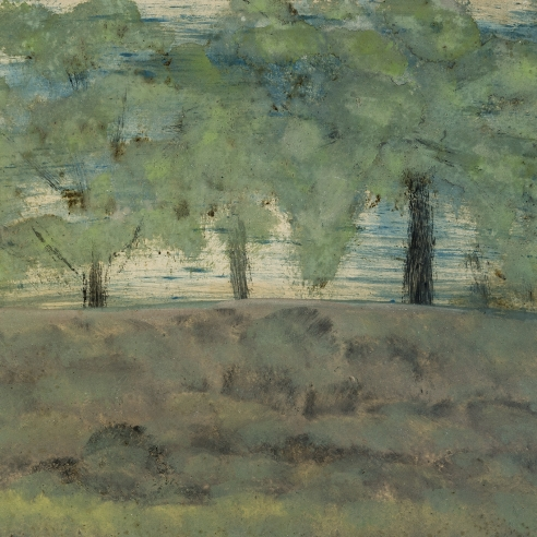a tonalist-style painting by Frank Walter of a group of trees