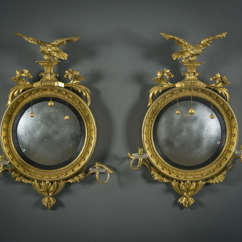 Pair Girandole Mirrors with Eagles and Candlearms