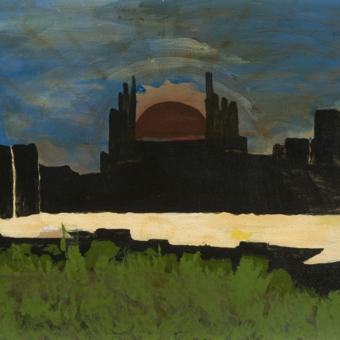 a painting of a sunset behind black forms by self-taught artist Frank Walter