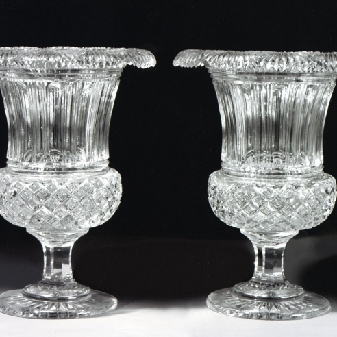 Pair Clear Glass Medici-Form Vases
