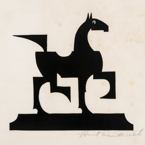 "Hunt Diederich (1884–1953), ""Cubist Horse,"" paper cutout, 7 x 7 in. (sheet)"