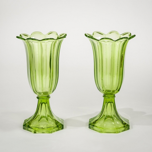 Pair Apple Green Tulip Vases