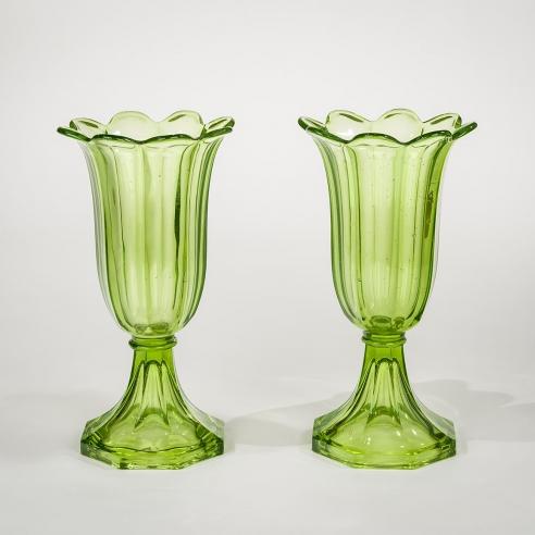 Pair Apple Green Tulip Vases