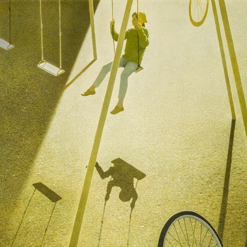 "ROBERT VICKREY (1926–2011), ""Playground"" Egg tempera on Masonite, 30 x 20 in. Detail."