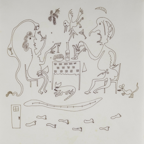 a fantastical drawing of a man and woman eating surrounded by animals by self-taught artist Jeanne Brousseau