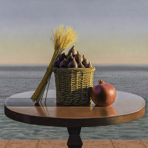 a tabletop still life of wheat, figs and a pomegranate by calm ocean water