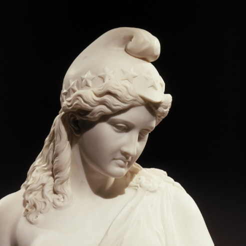 JAMES HENRY HASELTINE (1833–1907), America Honoring Her Fallen Brave, 1867. Marble bust, 29 1/2 in. high (detail).