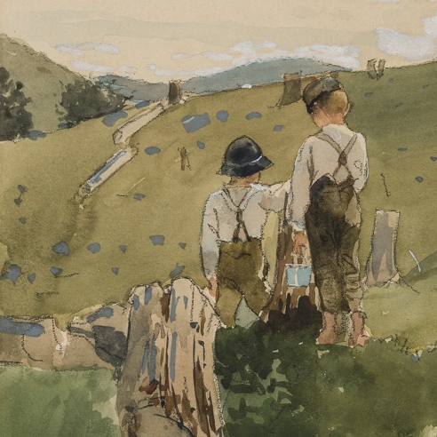 "WINSLOW HOMER (1836–1910), ""Boys on a Hillside,"" 1879. Watercolor, gouache, and pencil on paper, 8 1/8 x 11 1/2 in. (detail)."