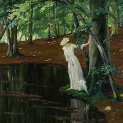"""EDWARD CUCUEL (1875–1954), """"The Emerald Pool,"""" about 1910–10. Oil on canvas, 35 1/2 x 40 in. Detail."""