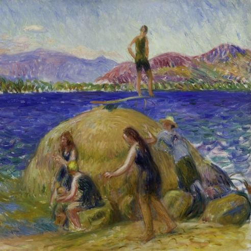 """WILLIAM GLACKENS (1870–1938), """"Lake Bathers,"""" about 1920–24. Oil on canvas, 25 x 30 in. Detail."""
