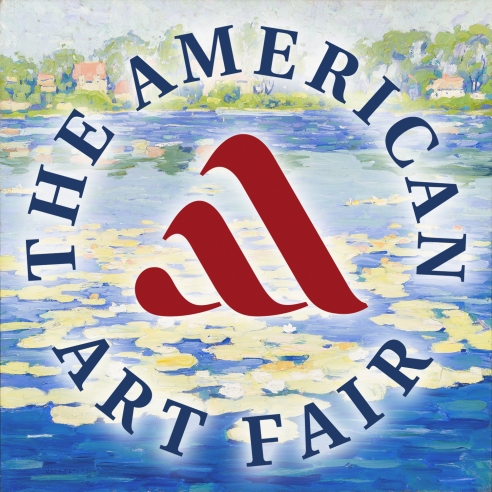 Jane Peterson, Niles Pond, Painted about 1916-20, Oil on canvas, 32 x 32 in., with overlay of round logo for The American Art Fair.