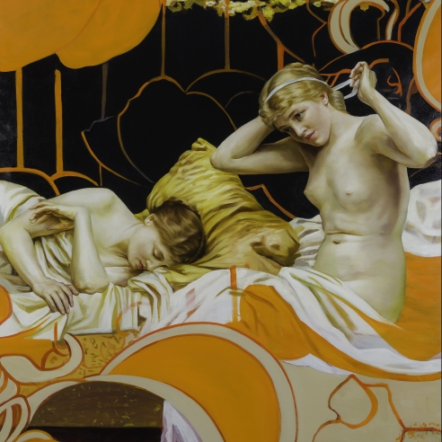 a painting by Angela Fraleigh of two women from various art historical sources waking in  a complex tangle of Art Nouveau-patterned swirls