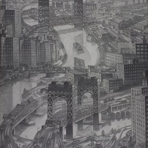 "Image of Douglas Cooper's ""Harlem River Bridges,"" Charcoal on paper, mounted on board, 60 by 48 inches, created in 2014."