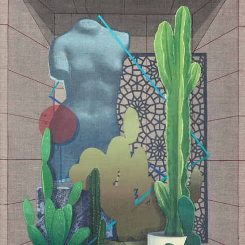 cacti and bric-a-brac sit in a gray, recessed shelf in this painting by Robert Minervini