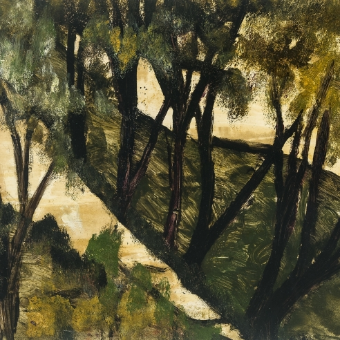 a landscape painting by Frank Walter of green and yellow trees with brown trunks in a yellow and green field