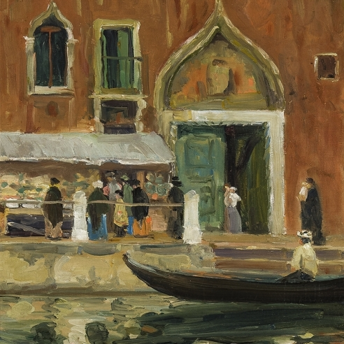 JANE PETERSON (1876–1965), Open Air Market, Venice, about 1910–20. Oil on canvas, 24 x 18 in. (detail).