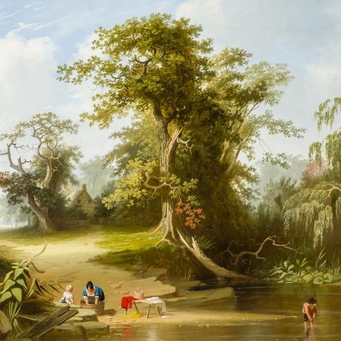 "GEORGE CALEB BINGHAM (1811–1879), ""Landscape: Rural Scenery,"" 1845. Oil on canvas, 29 x 36 in. (detail)."