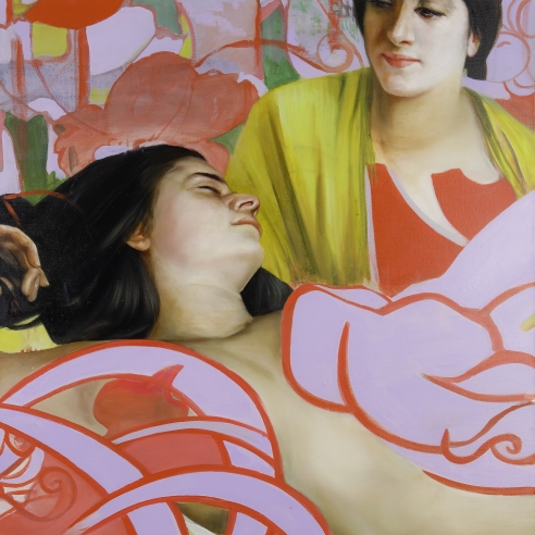 a woman sleeps while another woman watches her in this painting by Angela Fraleigh