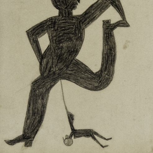 a drawing by self-taught artist Bill Traylor of a man being poked in the crouch by a much smaller figure