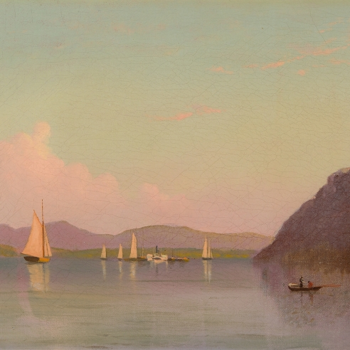 """FRANCIS A. SILVA (1835–1886), """"Crow's Nest on Hudson,"""" about 1875. Oil on canvas, 12 1/8 x 24 in. (detail)."""