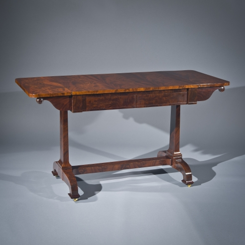 Sofa Table, later 1830s. Attributed to D[uncan] Phyfe and Sons (active 1837–40), New York. Mahogany, with gilt brass castors, 29 7/8 in. high, 24 in. wide, 36 3/4 in. long; 56 1/8 in. long (with both leaves extended).
