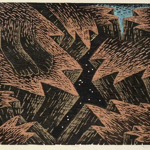 Image of Louisa Chase's Chasm, created in 1983. Color woodcut on Japanese fiber paper, 26 by 30 inches.