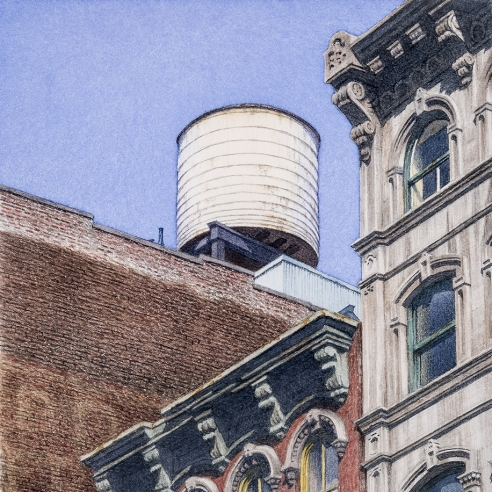 watercolor painting of rooftops in the Soho area of New York City