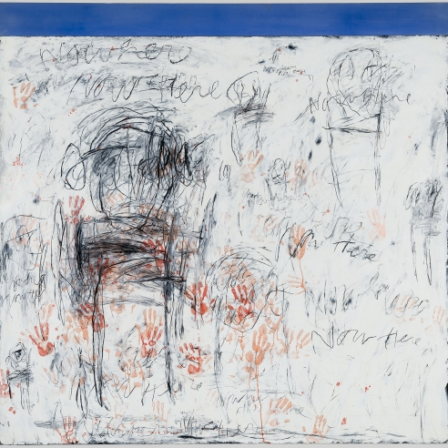 "Image of Louisa Chases painting titled ""nowhere, now here"" painted in 1986 and 87. Oil and wax on canvas, 82 by 82 inches."