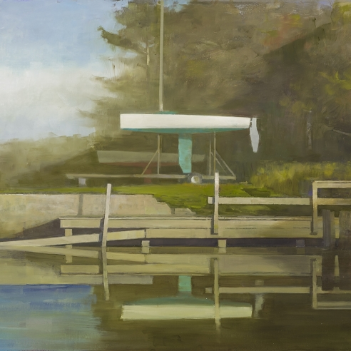 a painting of a boat on a trailer next to a dock