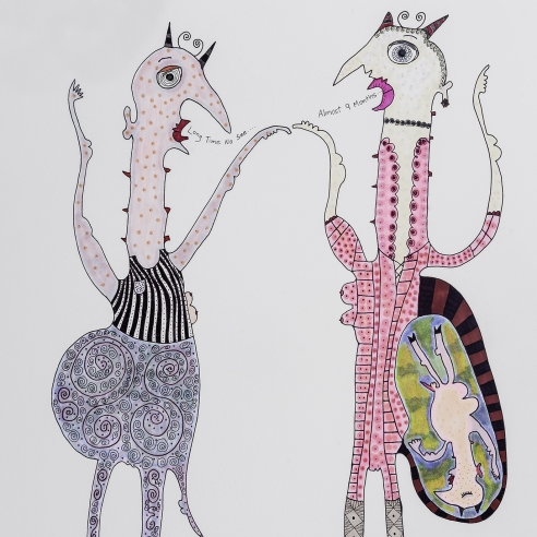 a drawing by self-taught artist Jeanne Brousseau of two women talking, one of whom is pregnant