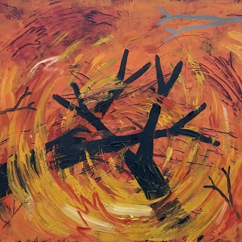 an expressionistic painting by Louisa Chase of two black trees in a swirl of fire