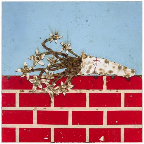cartoonish trompe l'oeil painting of burnt flowers on a brick wall