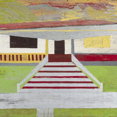 Image of Frank Walter's Achitecture, oil on wood panel, 14 1/2 by 19 inches.