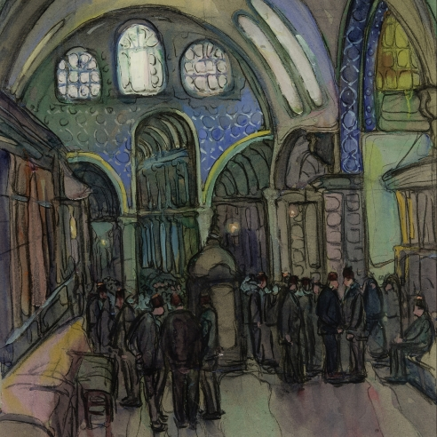 """JANE PETERSON (1876–1965), """"A Gathering in Constantinople,"""" about 1924. Gouache and charcoal on light gray paper, 23 1/4 x 17 3/4 in. Detail."""