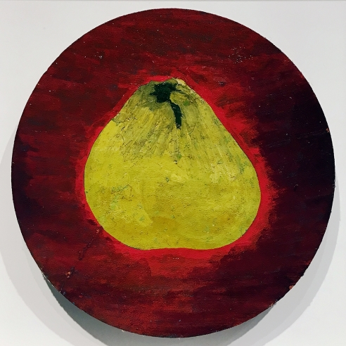 a tondo-painting by Frank Walter of a yellow pear on a red background