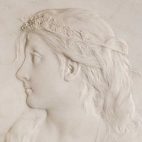"THOMAS BALL (1819–1911), ""Ophelia,"" after 1884. Marble relief, oval, 21 1/2 x 18 1/2 in. Detail."