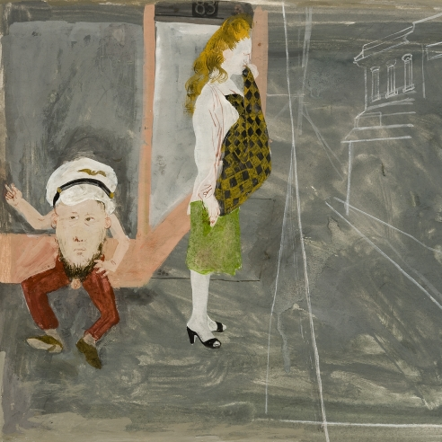 a surrealist work on paper by Honore Sharrer featuring a crying woman and a half-man wearing a sailor's hat