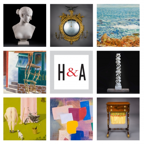 "3 x 3 grid with square details (clockwise from upper left): Hiram Powers, ""Bust of the Greek Slave;"" American, probably Salem, Massachusetts, ""Convex Girandole Mirror;"" Childe Hassam, ""Seascape: Isles of Shoals;"" Elizabeth Turk, ""Script: Column 9;"" Thomas Seymour, Boston, ""Work Table with Lyre Ends;"" Robert Natkin, ""Untitled, Hitchcock;"" Honore Sharrer, ""Roman Landscape;"" O. Louis Guglielmi, ""Tumblers."" Center tile: square Hirschl & Adler logo with red ampersand."