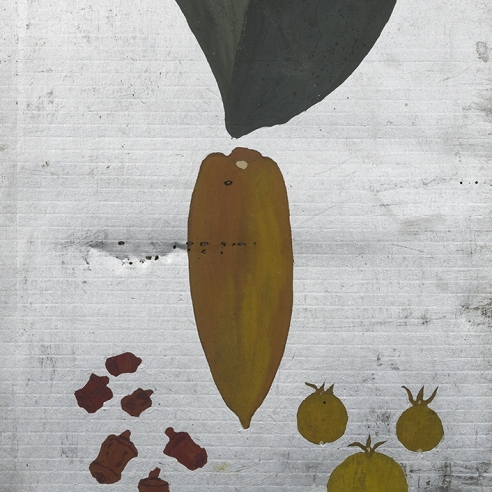 a painting by Frank Walter of leaves and fruit on a silver background