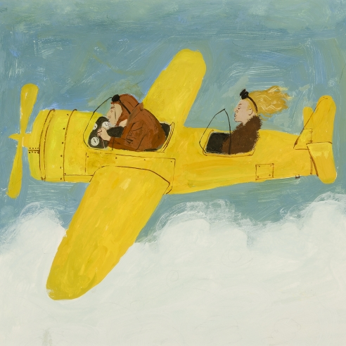 a work on paper by Honore Sharrer of a man and woman flying in a yellow airplane