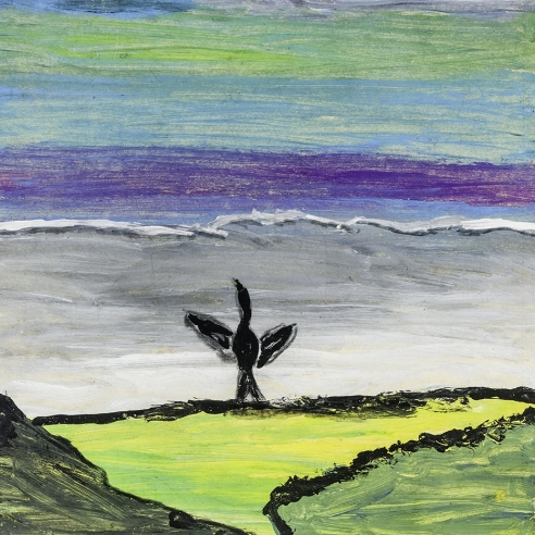 a painting by self-taught artist Frank Walter of a black bird with a boat in the background