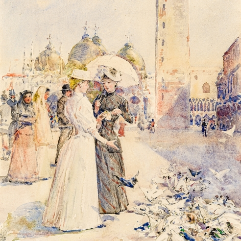 CHILDE HASSAM (1859–1935), Feeding the Pigeons in the Piazza, c. 1890–91. Watercolor on paper, 20 7/8 x 12 in. Detail of women feeding the pigeons own the plaza of San Marco, Venice.