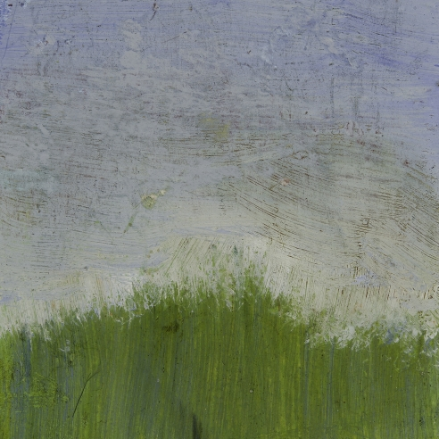 a landscape painting by Frank Walter of green grass and a pale blue sky