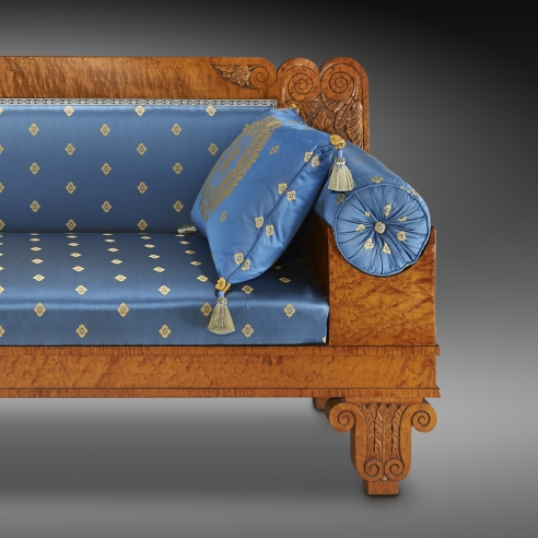 Sofa, about 1825. Philadelphia. Curly maple, 33 1/8 in. high, 71 3/4 in. long, 22 3/8 in. deep (detail).
