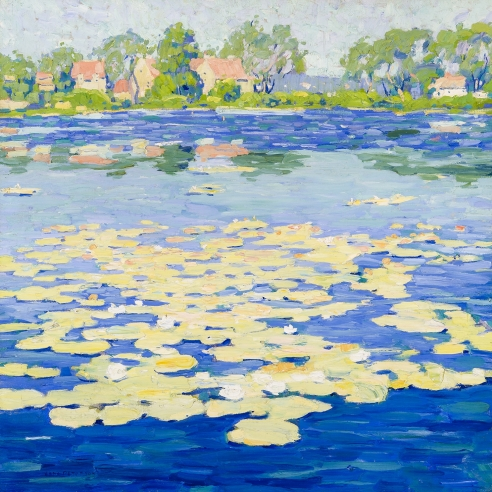 Jane Peterson's Niles Pond, painted from about 1916 to 1920. Oil on canvas, 32 by 32 inches.