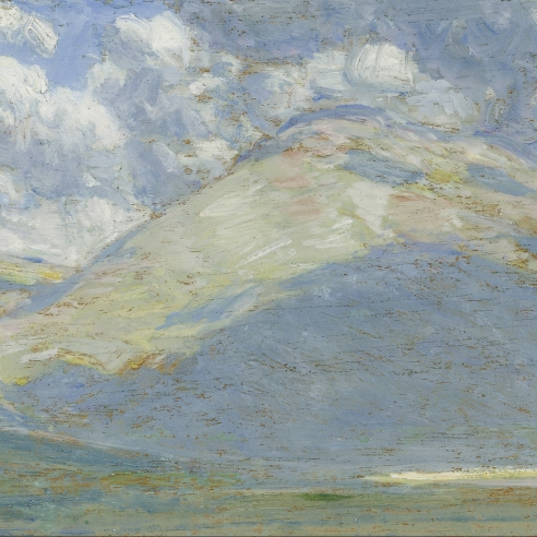 """CHILDE HASSAM (1859–1935), """"Landscape, Eastern Oregon (Clouds and Mountains),"""" 1908. Oil on panel, 5 3/8 x 8 1/4 in. (detail)."""