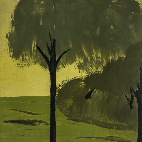 painting by Frank Walter of a tree with a black trunk in a tonal green and gold landscape