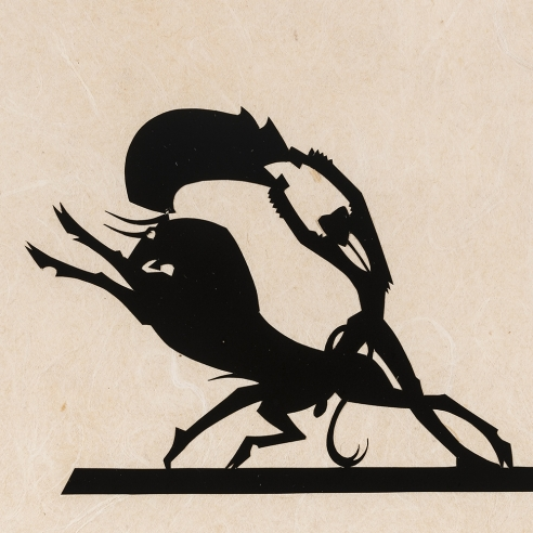 "Hunt Diederich (1884–1953), ""Matador and Bull."" Paper cutout, 4 3/4 x 4 5/8 in. (sight)."