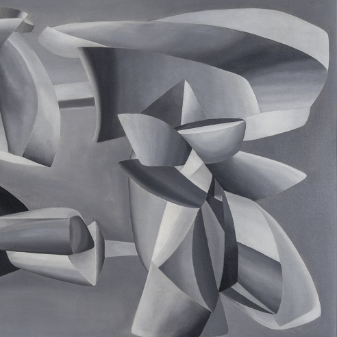 JOHN FERREN (1905–1970), Grey Scale Composition, 1937. Oil and sand on canvas, 35 x 45 5/8 in. (detail).